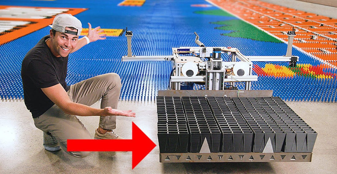 Mark Rober Builds Robot That Can Set Up A 100,000 Domino Mural In 24 Hours