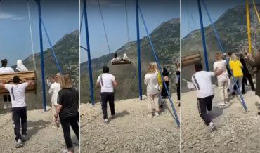 Nope: Cliffside Swing Breaks Almost Sending Two Women To Their Doom