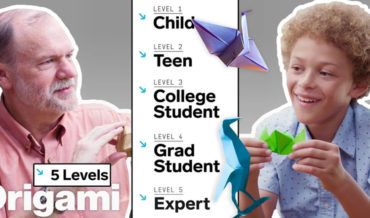 Origami Master Teaches Five Different Skill Levels, From Child To Expert