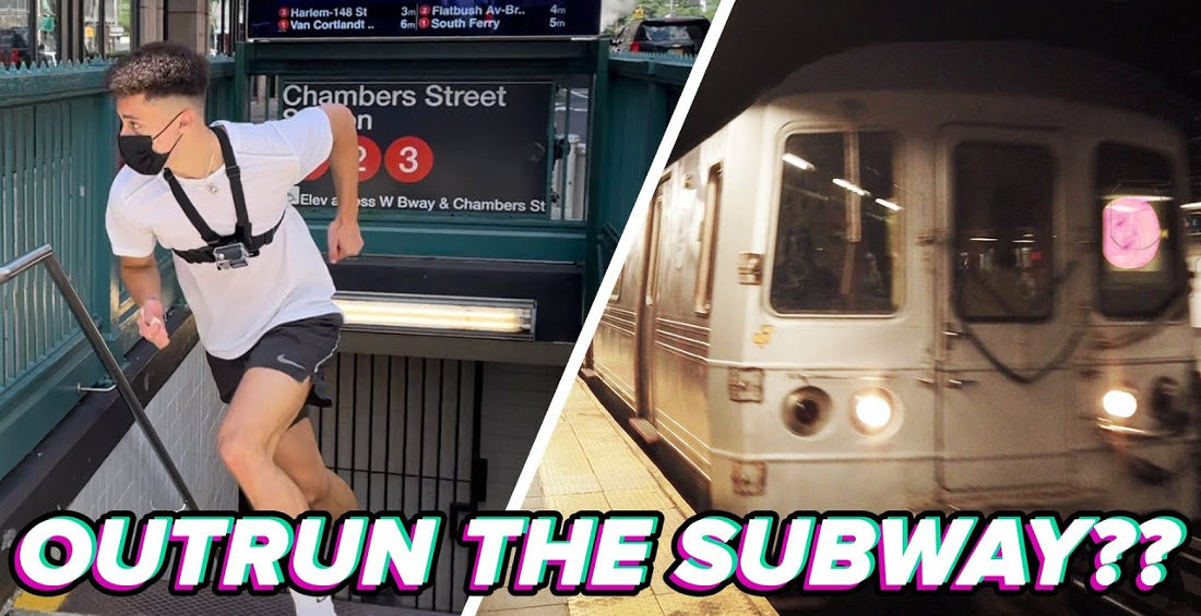 Track Star Attempts To Beat The NYC Subway To Its Next Stop