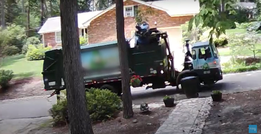 Doorbell Cam Captures Recycling Truck Eating Family's Recycling Bin