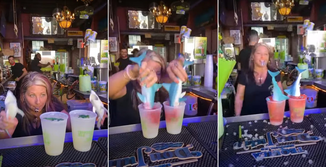 Bartender Mixes Two Shark Bite Drinks With Extra Flair
