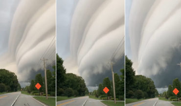 Massive Shelf Cloud Crossing Street In Georgia