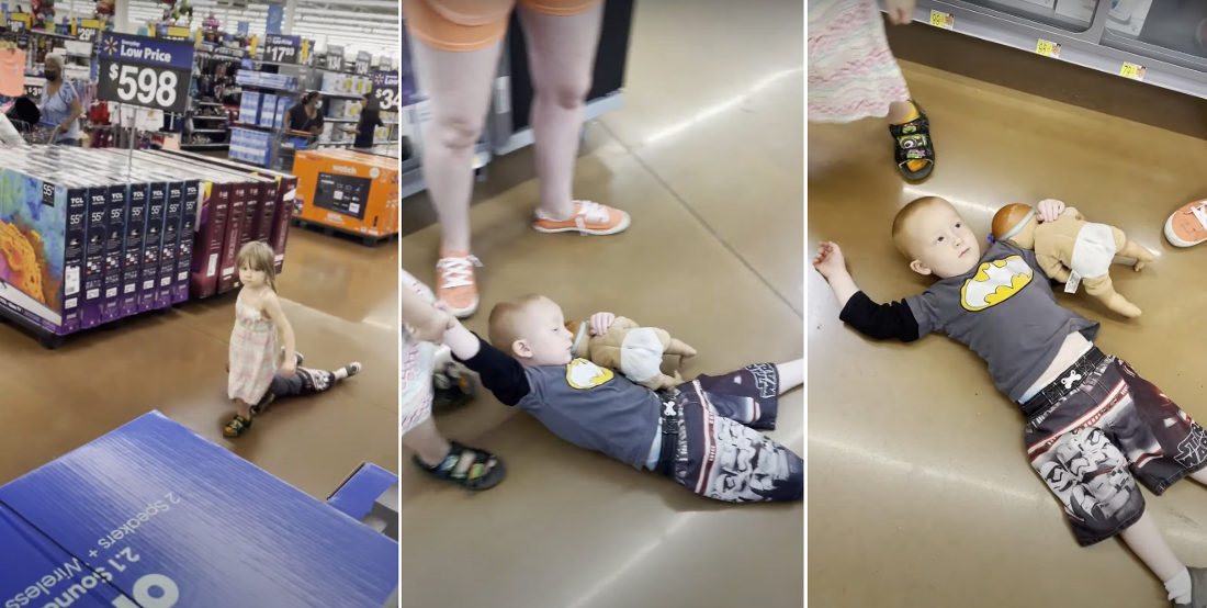 Little Girl Drags Unruly Brother Through Walmart