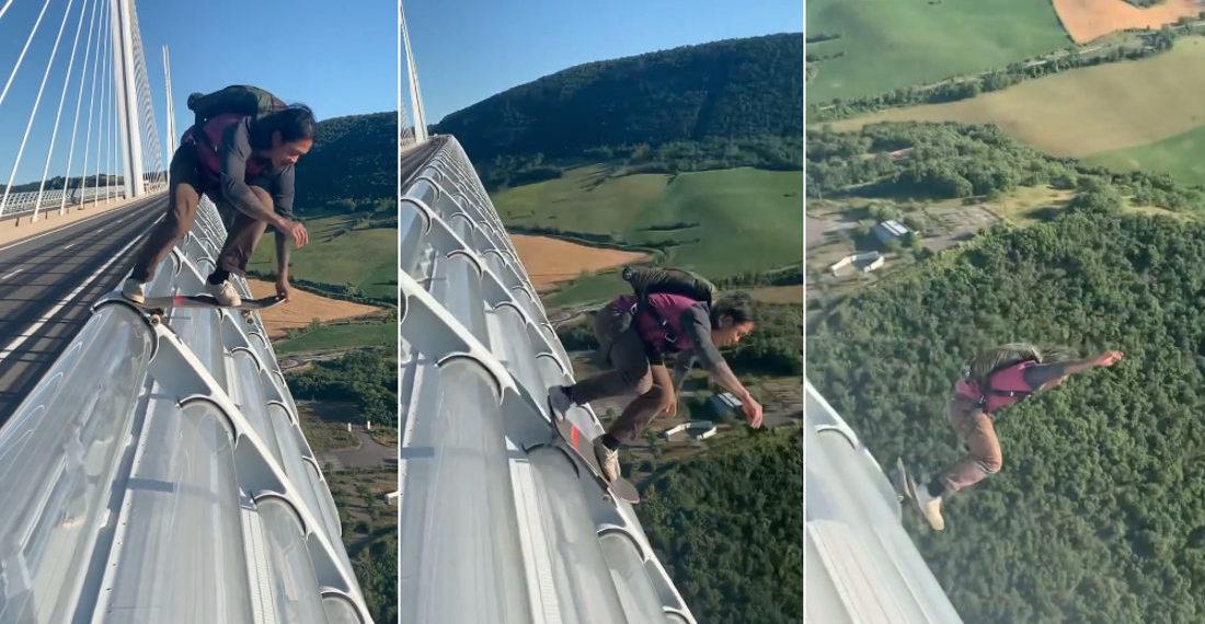 BASE Jumper Skateboards Off Side Of Bridge