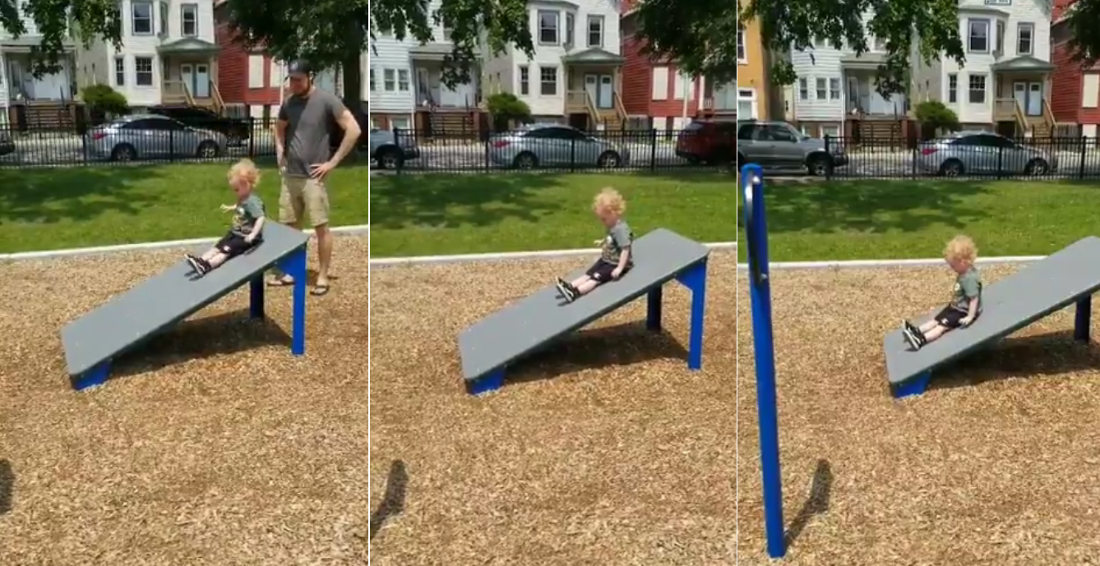 Kid Takes Ultra-Slow Ride Down Ramp He Mistook For A Slide At Playground