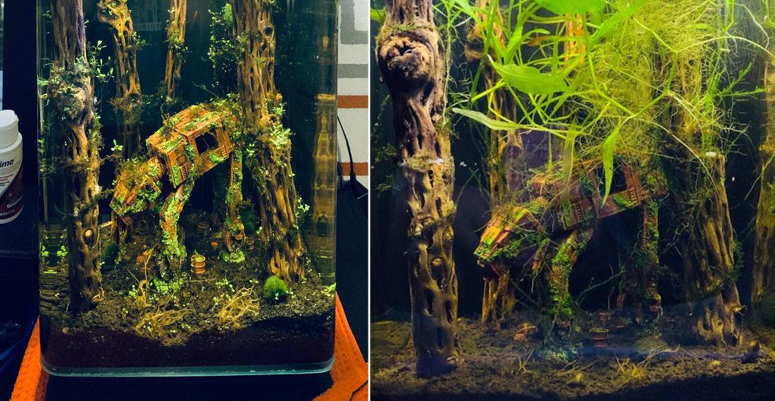 Abandoned Star Wars AT-AT In Fish Tank