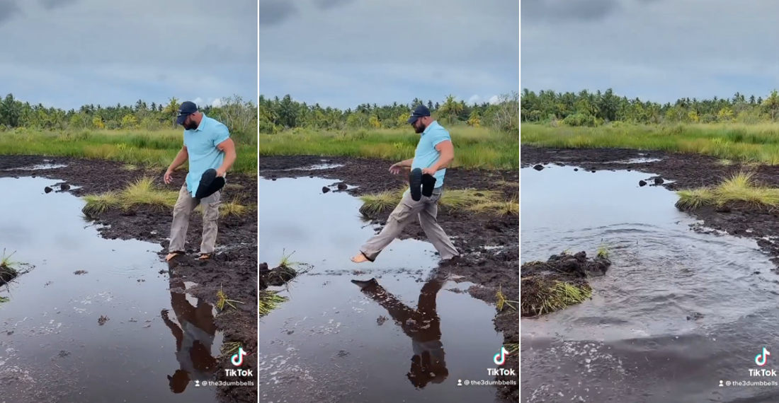 Man Takes Step Into Swamp Much Deeper Than It Looks