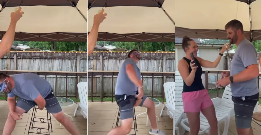 Blindfolded Dodge A Swinging Water Balloon On A String Prank