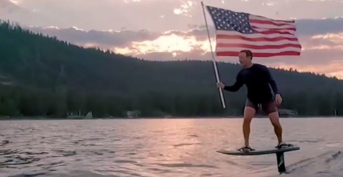 Mark Zuckerberg Surfs On Hydrofoil With American Flag To Celebrate 4th Of July