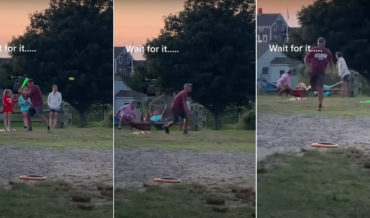 What Are The Odds?: Fence Breaks The Same Moment Man Smacks Baseball