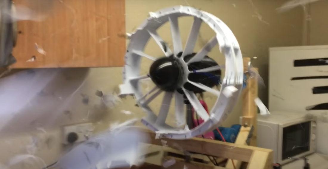 3D Printed Engine Fan Self Destructs During Thrust Test