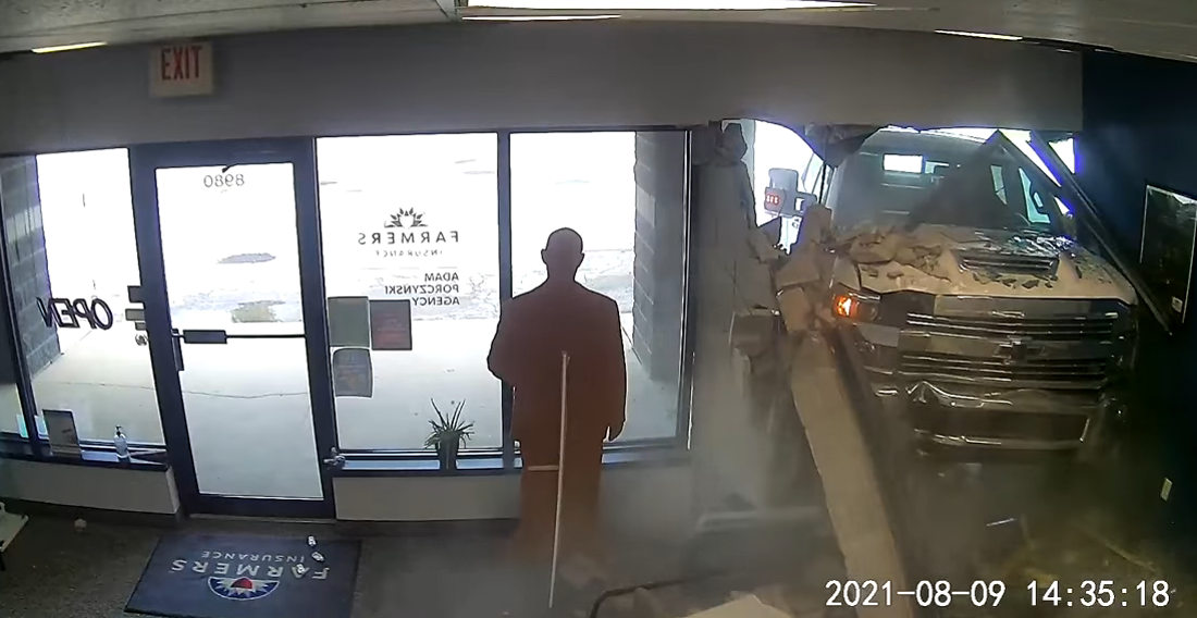 How Appropriate: Truck Crashes Through Farmers Insurance Office