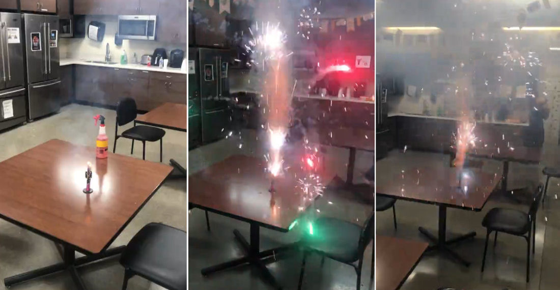 Idiot Sets Off Firework In Work Breakroom