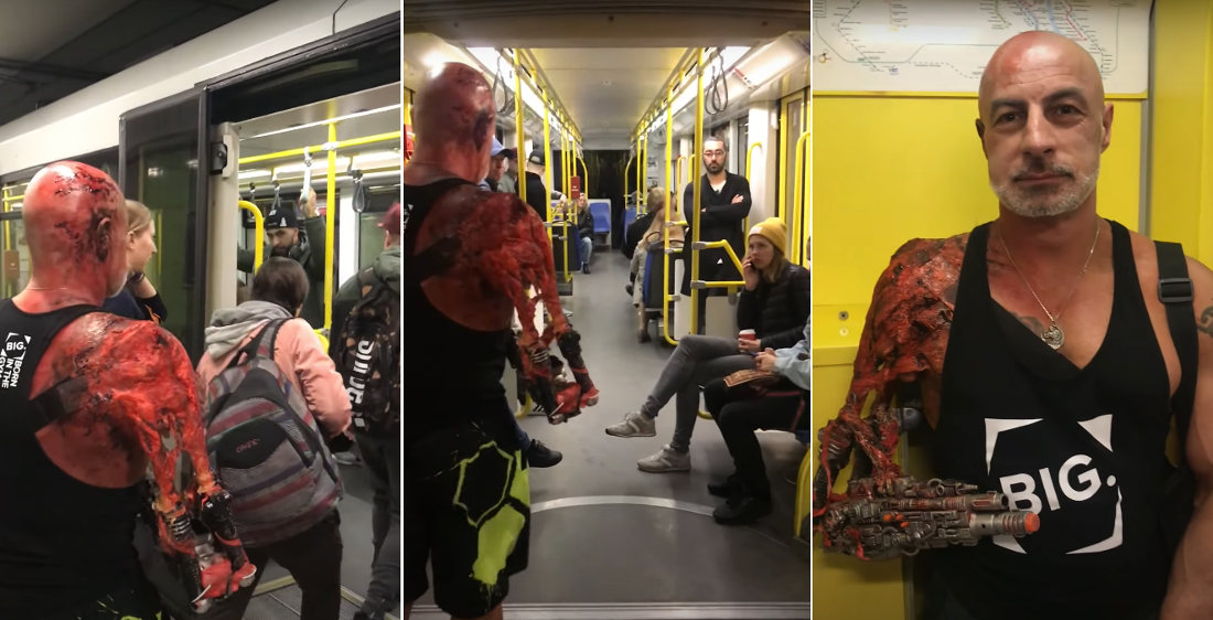 One Armed Man Cosplays As Gun-For-Arm Movie Character On Subway