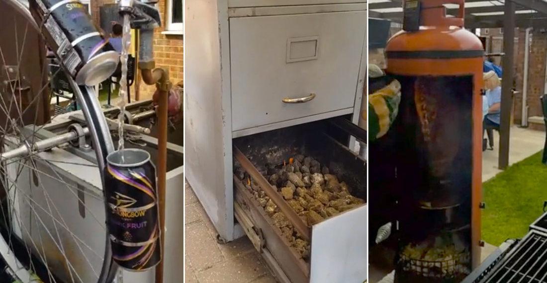 Homemade Waterwheel Rotisserie, Filing Cabinet Oven, Propane Tank Smoker
