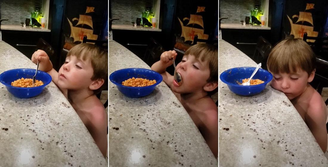 Kid Falls Asleep While Eating