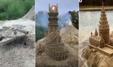 Timelapse Video Of Sand Sculptor Creating Millennium Falcon, Eye Of Sauron, Hogwarts
