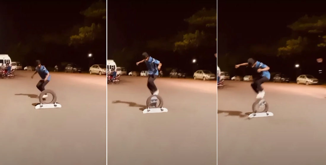 Skateboarder Ollies Board Through Tire While He Goes Over