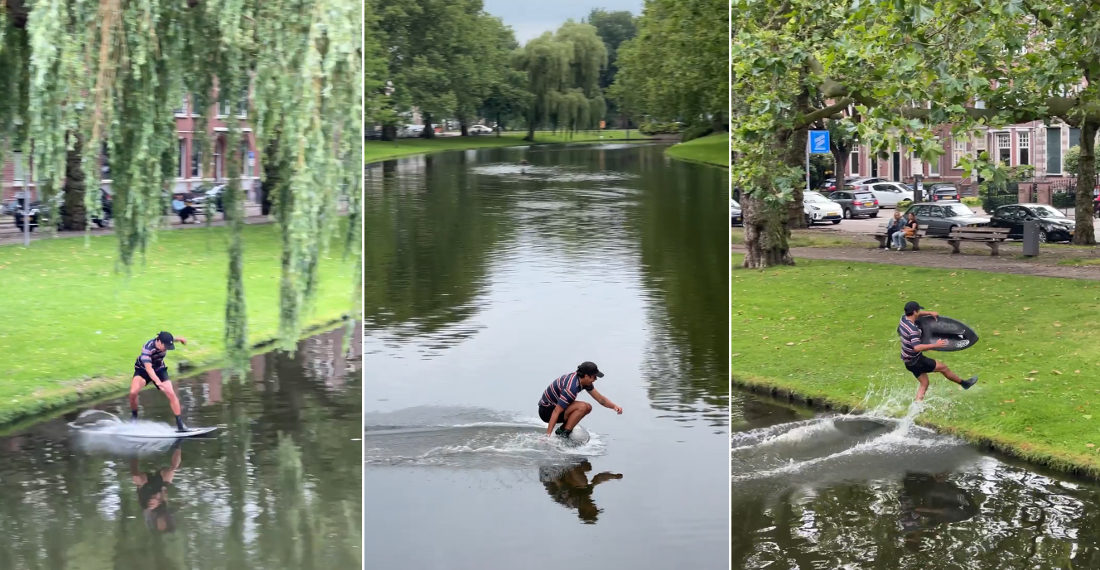Smooth As Silk: Man Crosses Wide Canal On Skimboard