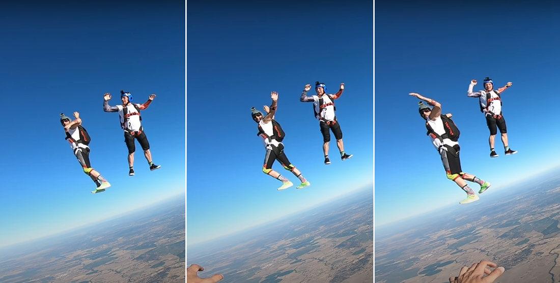 Skydiver Casually Walking Mid-Fall