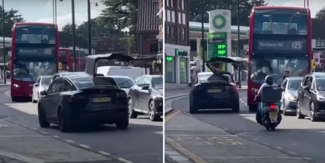 Ke-Runch!: Tesla Model X Driver Doesn't Close Falcon Wing Door, Smacks Bus With It