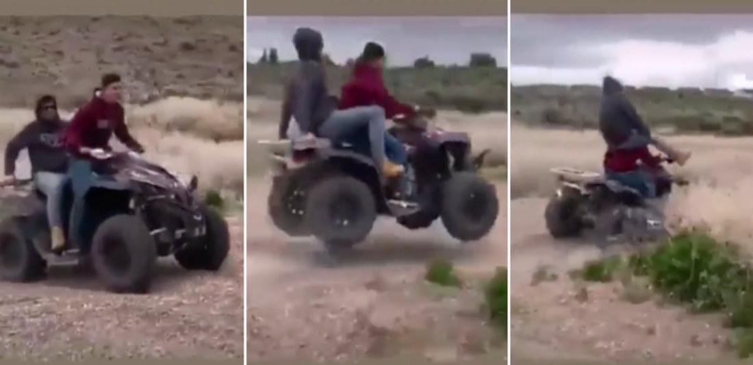 Backseat ATV Rider Lands On Driver's Shoulders After Jump