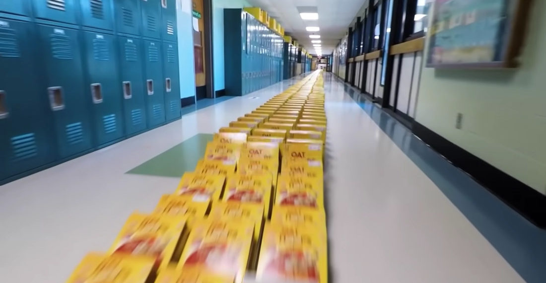 School Sets Record For Most Cereal Boxes Knocked Down Like Dominoes