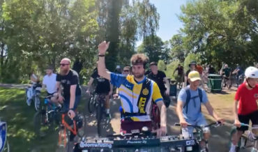 DJ Spins While Riding His Bike