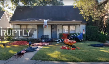 Man's Ultra-Gory Halloween Decorations, Including Wood Chipper Blood Fountain