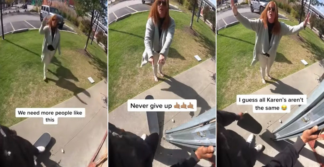 Faux Karen Approaches Skateboarder, Offers Words Of Encouragement