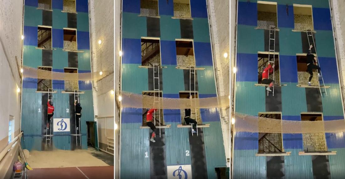 Russian Firefighter Ladder Climbing Races