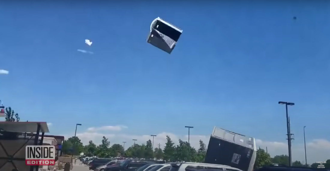 Strong Winds Carry Porta-Potty Into the Sky