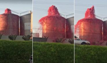 Juice Factory Springs A Leak, Spews Over 1,000 Liters Of Grape Juice