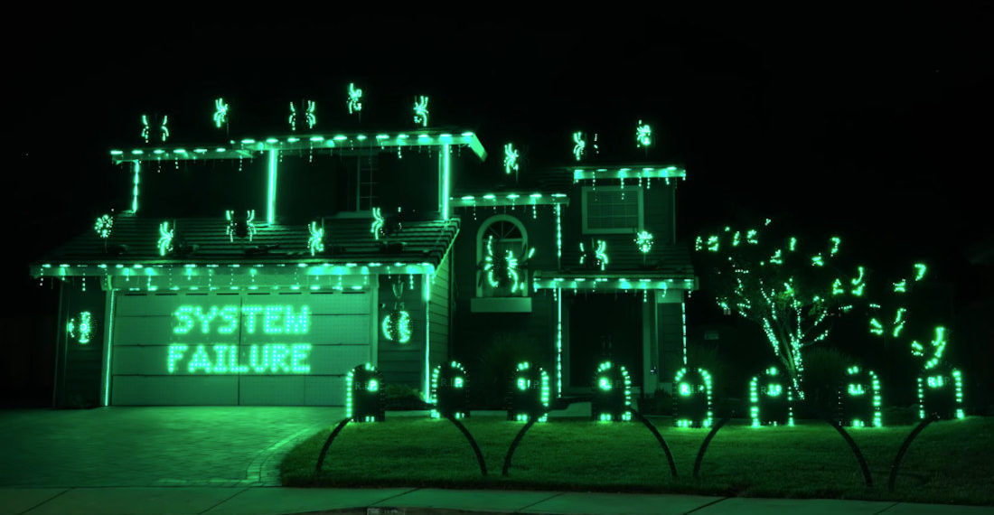 The Matrix x Rage Against The Machine Synchronized Halloween Lights Display