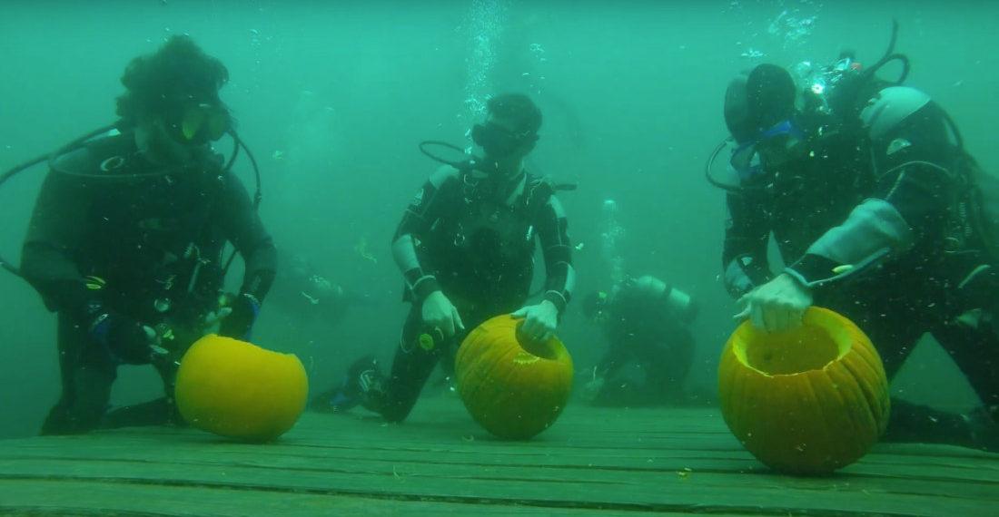A Scuba Diver Underwater Pumpkin Carving Competition